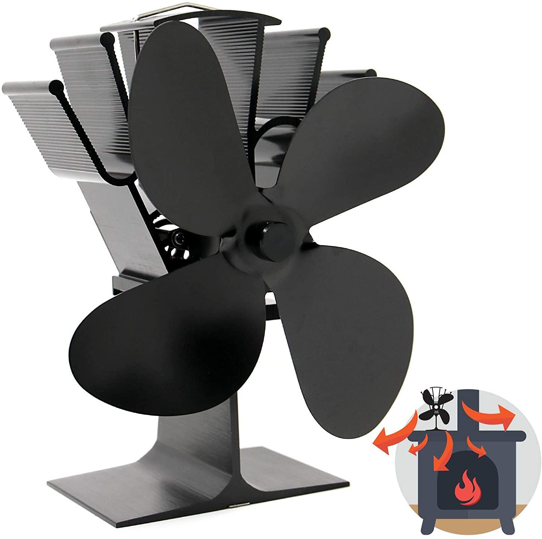 Ventilador de Estufa de 4 Cuchillas Accionado por Calor | Operación Silenciosa | Chimenea de Madera y Estufa de Leña | Mayor Eficiencia | Seguro y Ecológico | M&W