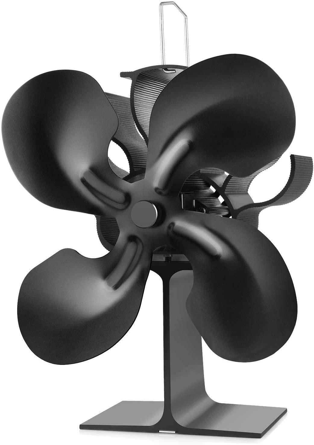 Ventilador de Estufa Leña Tubo, Ventilador para Estufa Leña Ecofan/Estufa/Leña/Ventilador de Chimenea Pared, 4 Aspas Ventilador estufa doble Distribución Eficiente del Calor(4-blade) (4-Blade)