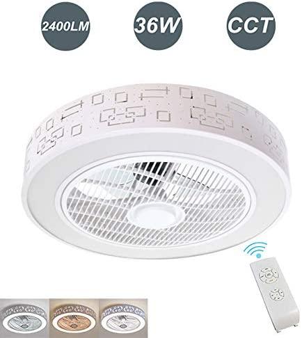 Ventilador de Techo con Lámpara LED 36W Ventilador Invisible con Mando a Distancia Luz Regulable Luz Fría/Neutra/Cálida Φ51*H20cm