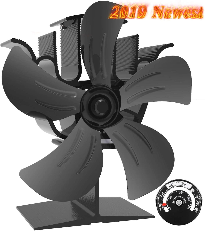 Ventilador Estufa Grande de 5 aspas para un Espacio Grande en el Registro/Estufa de Leña/Estufa/Chimenea, Ventilador de Chimenea Silencioso Ecológico (Negro) [Clase de eficiencia energética A+++]