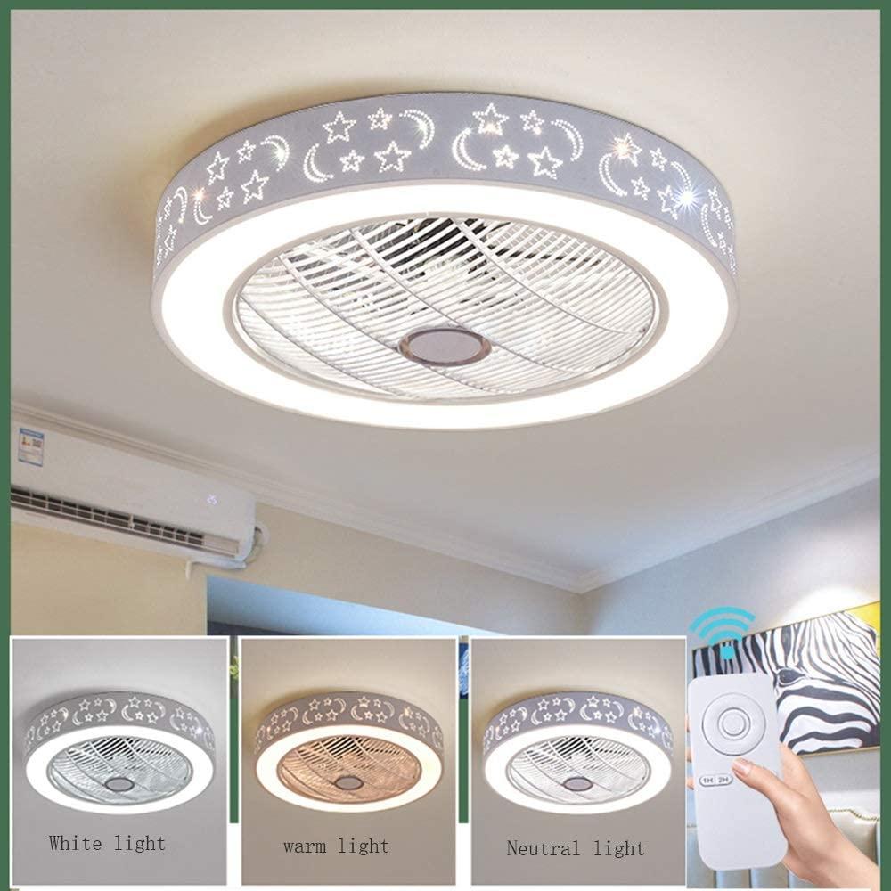 Ventiladores de Techo con Lámpara, Ventilador de Techo con Luces LED con Control Remoto Regulable Ultra Silenciosa para Ventilador, Dormitorio de Sala Moderna Habitación para Niños Iluminación