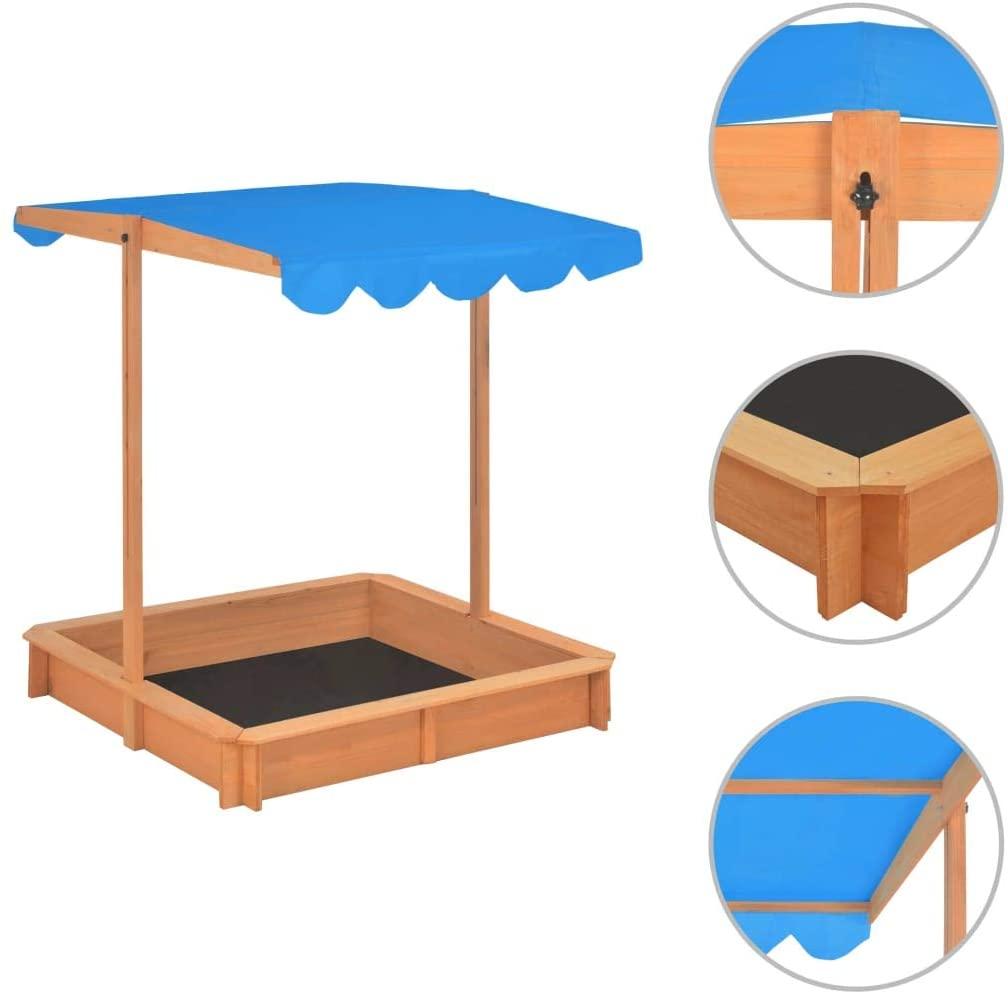 vidaXL Caja de Arena con Techo Ajustable de Madera UV50 Cajones Parques Juegos al Aire Libre Juguetes Jardín Patio Terraza Infantil Niños Azul