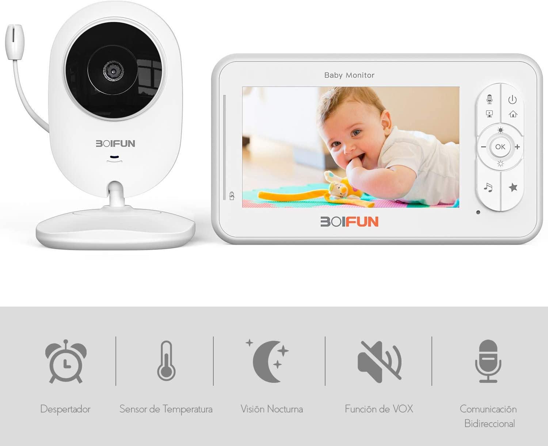 """Vigilabebés con Cámara, BOIFUN Bebé Monitor Inteligente con Pantalla LCD de 4.3"""", VOX, Visión Nocturna, Monitoreo de Temperatura, Despertador, Comunicación Bidireccional, Recargable"""