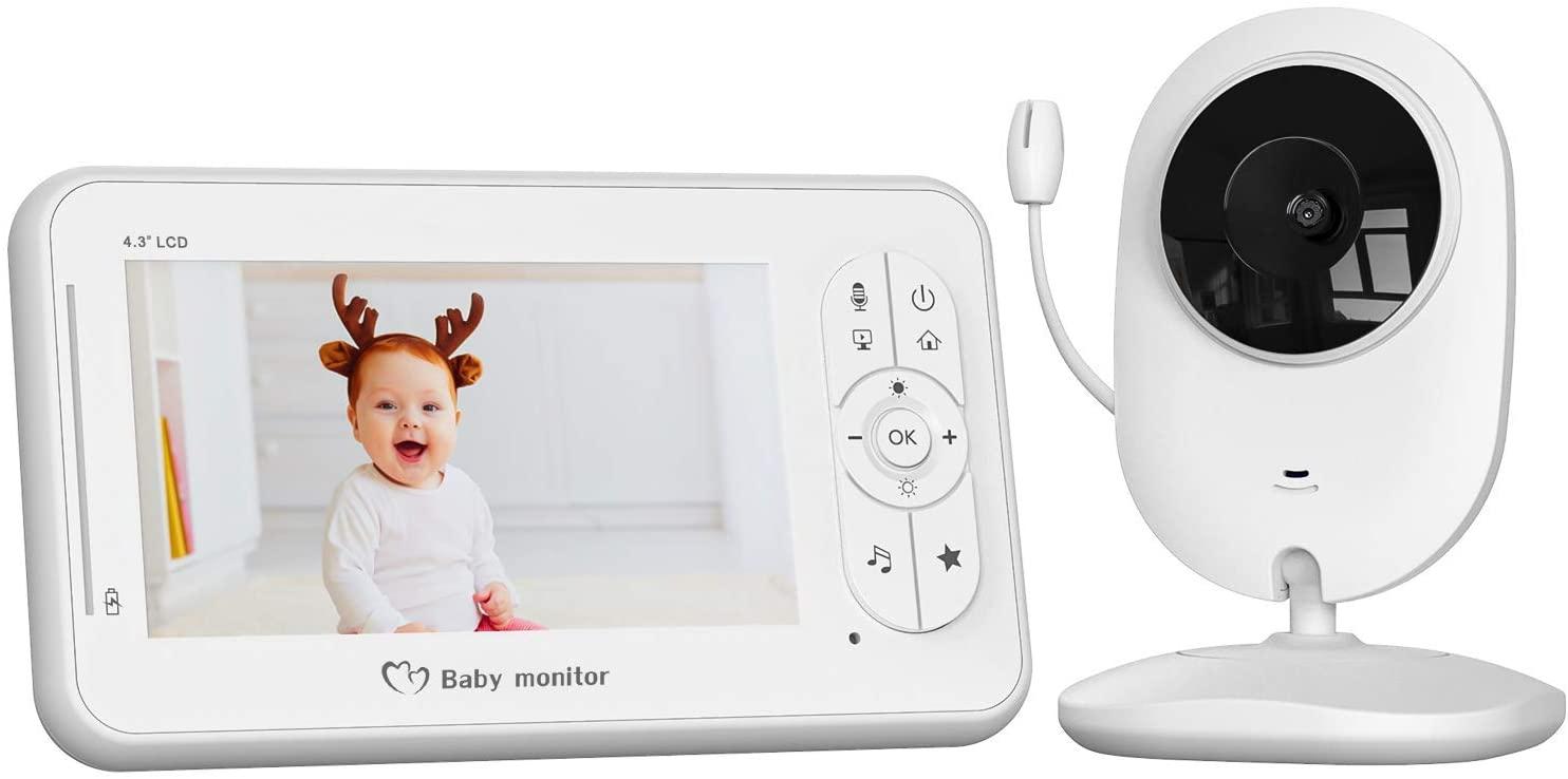 Vigilabebés con Cámara, COOAU Bebé Monitor con Pantalla LCD de 4.3 pulgadas y Batería Recargable, Conexión Inalámbrica de 2.4 GHz, Visión Nocturna, Monitoreo de Temperatura, Comunicación Bidireccional