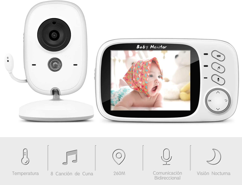 """Vigilabebés Inalambrico con Cámara, BOIFUN Monitor de Bebé Inteligente con Pantalla LCD de 3.2"""", VOX, Visión Nocturna, Monitoreo de Temperatura, Despertador, Comunicación Bidireccional, Recargable"""