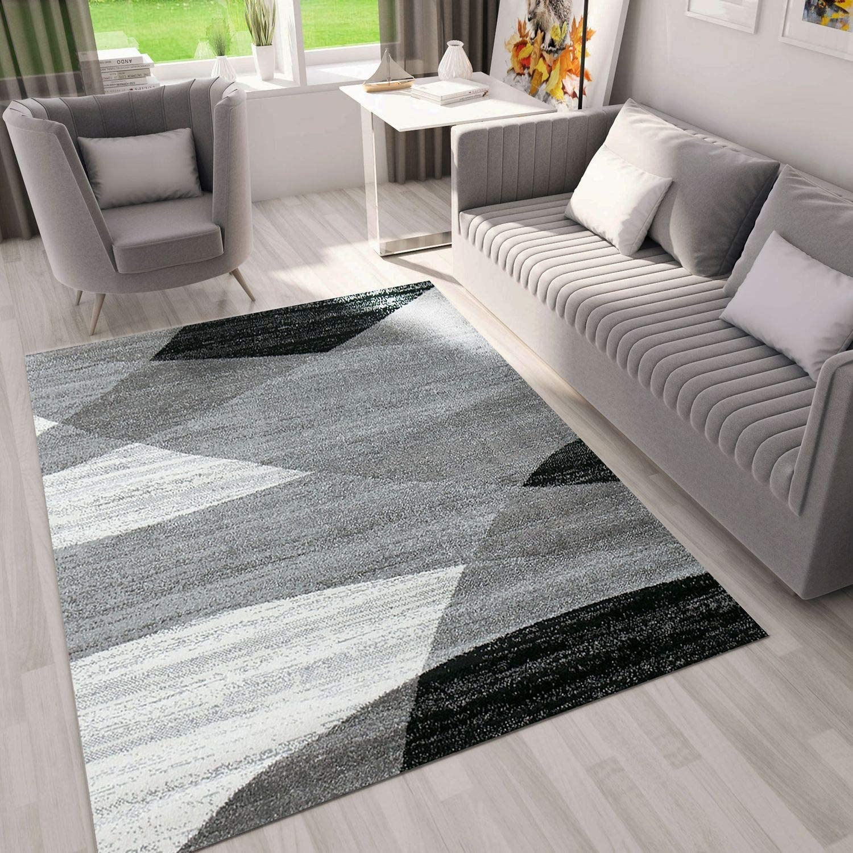 VIMODA Alfombra de diseño con Dibujo geométrico, Jaspeada, para el salón en Gris, Blanco y Negro - Material Certificado ÖKO Tex, Maße:60 x 110 cm
