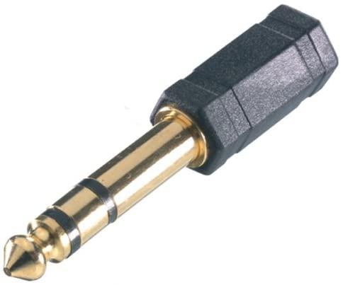 Vivanco - Adaptador compacto de audio de jack de 3,5 mm a jack de 6,3 mm, clavijas doradas