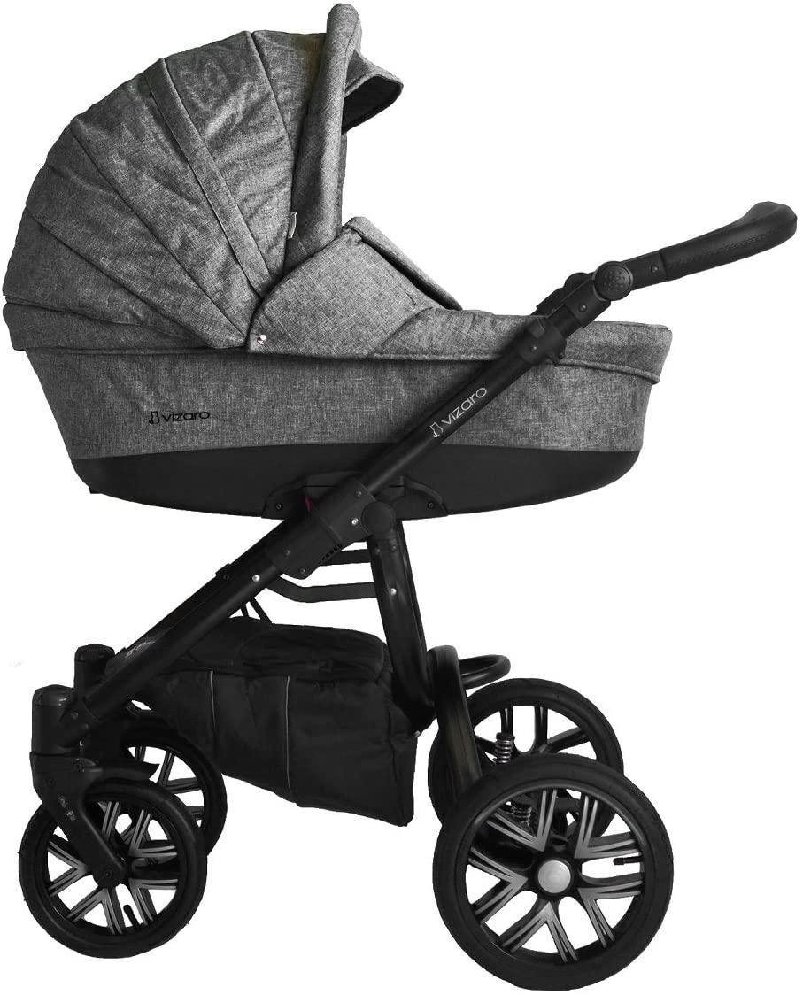 Vizaro PEARL 2020 TRÍO 3 en 1 - Cochecito Bebé GAMA LUJO REAL - MARCA ESPAÑOLA - Muy elegante - Hecho en UE - TEXTILES MUY ALTA CALIDAD - Garantía 3 Años - Textil GRIS Chasis NEGRO