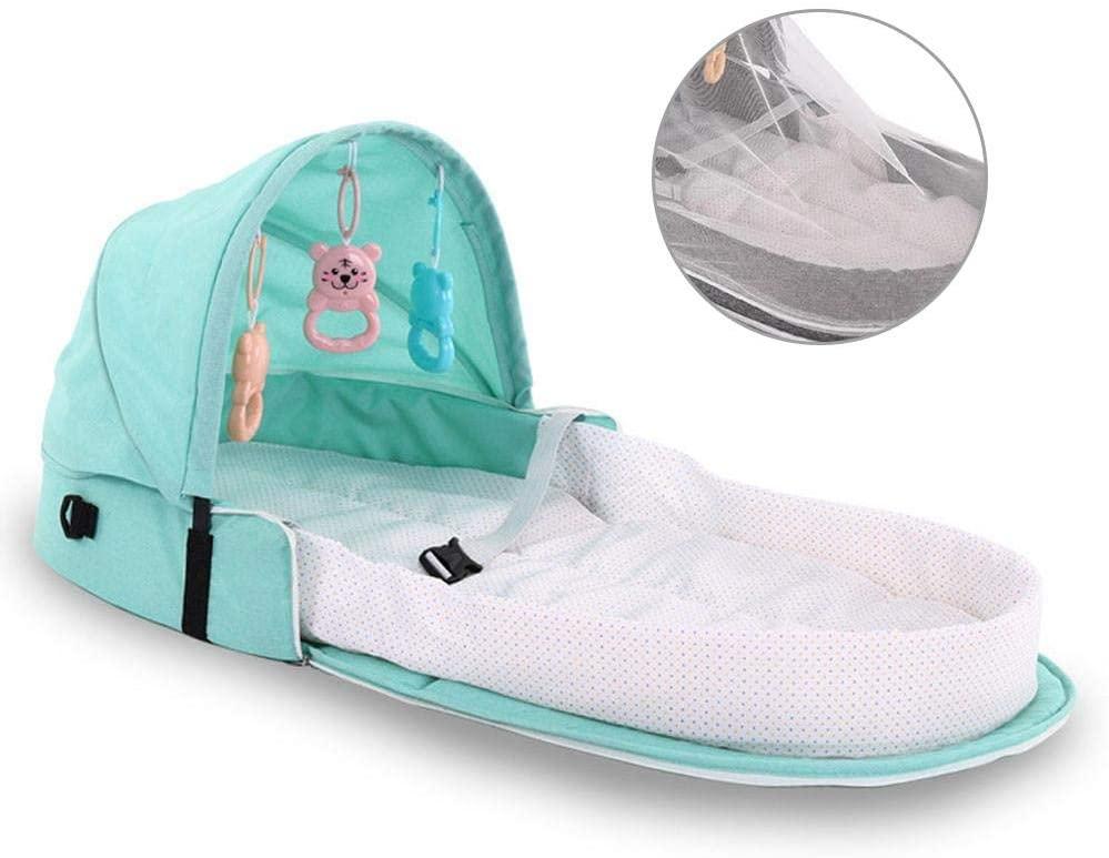 vogueyouth Cuna portátil para bebés, Cama Plegable Impermeable a Prueba de Seguridad para bebés Cuna de Viaje Tumbona para Dormir recién Nacida Bolsa de pañales para bebés con Campana y Welcoming