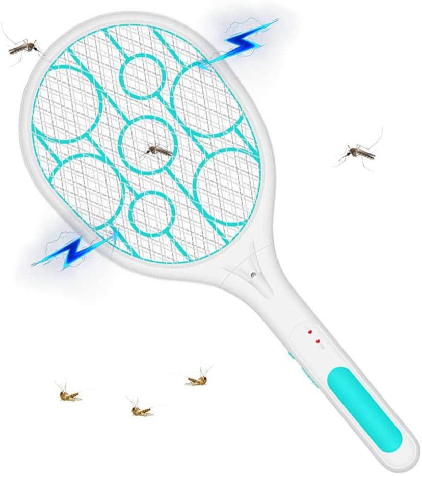 Volwco Raqueta Matamoscas Electrico,Swatter Eléctrico Mosquitos Recargable LED con Luces, Plagas Insectos Asesino Repelente Malla De Seguridad De 3 Capas para Proteger Tus Manos
