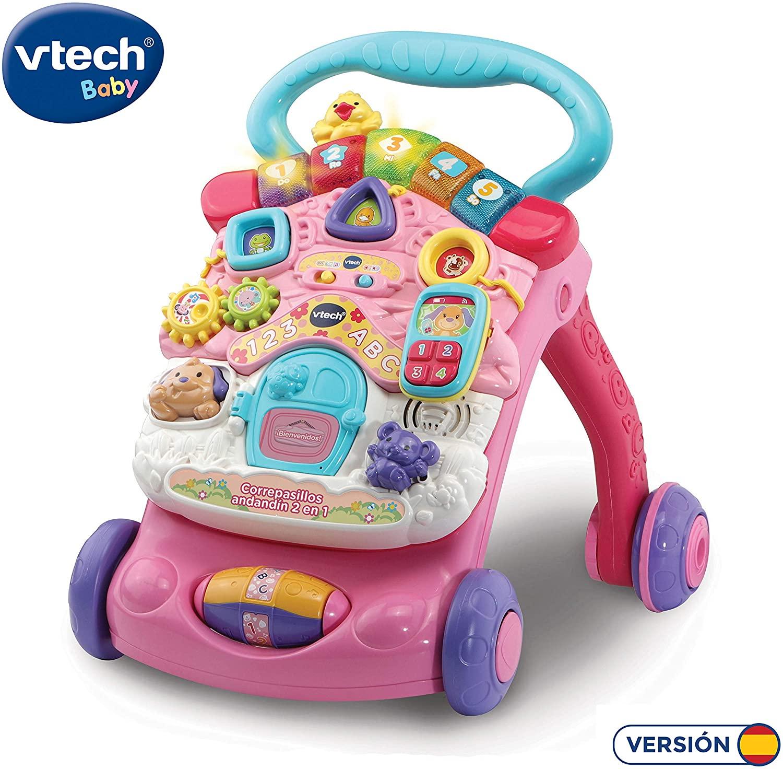 VTech - Correpasillos Andandín 2 en 1, Diseño Mejorado, Andador Bebé InTeractivo Plegable y Regulador de Velocidad, Color Rosa (80-505657)