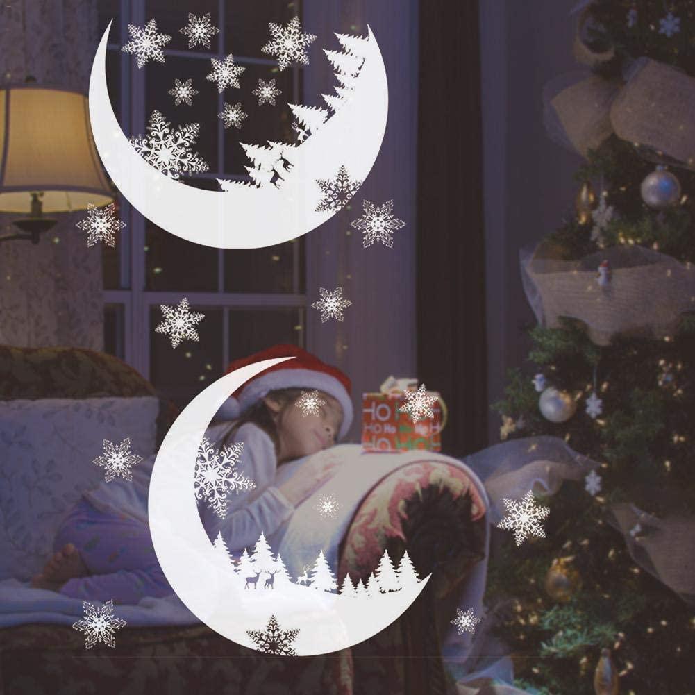 Waroomss 2020 Vinilos Decorativos Guirnalda De Navidad Aplique De Sección De Ventana Vinilo Decorativo De PVC Para Año Nuevo Arte De Nieve De Navidad Decoración Navideña De Año Nuevo