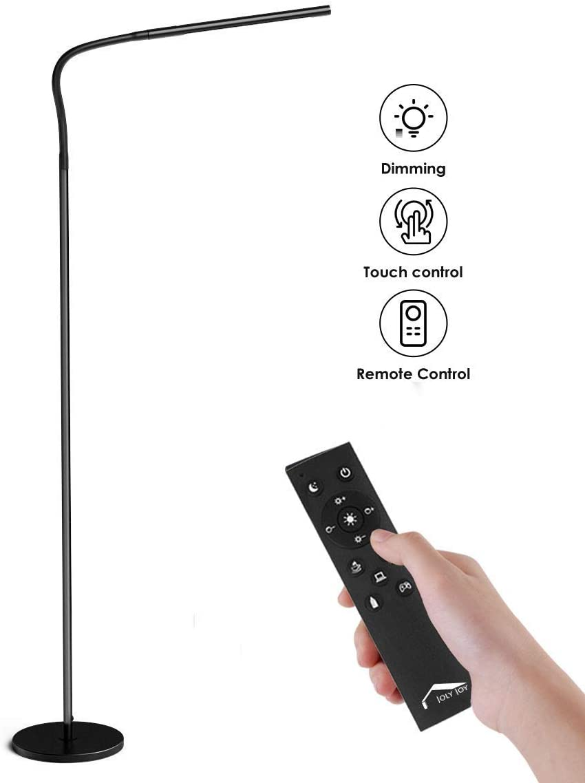 Wellwerks Lámpara de Pie 12W LED Luz Regulable (Control táctil / Control remoto) [Clase de eficiencia energética A]