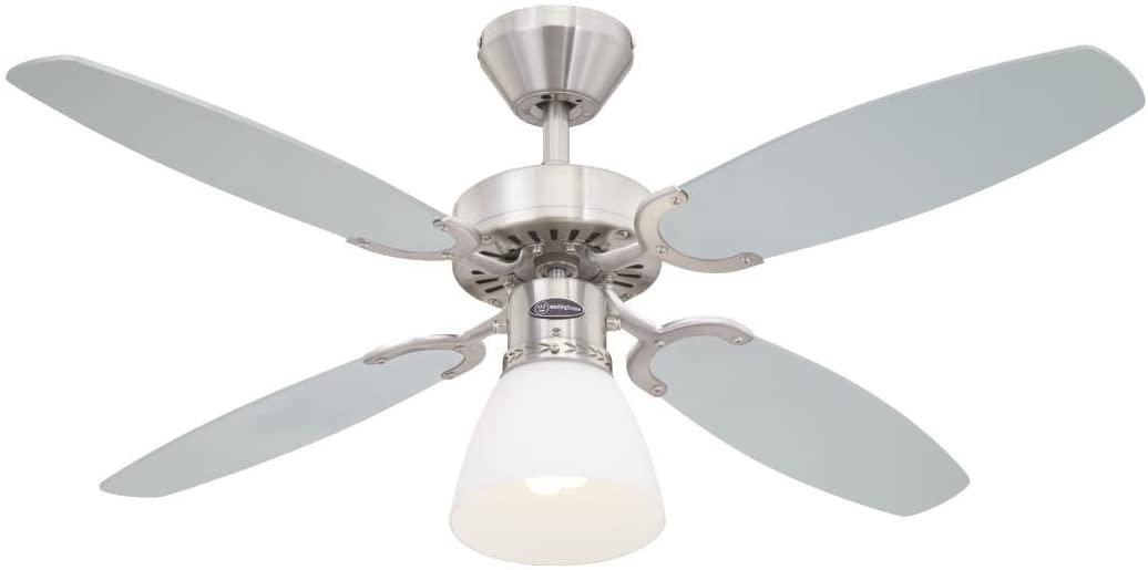 Westinghouse Lighting Capitol Ventilador de Techo E27, 60 W, Acabado en acero satinado con aspas reversibles en plata/negro [Clase de eficiencia energética A]