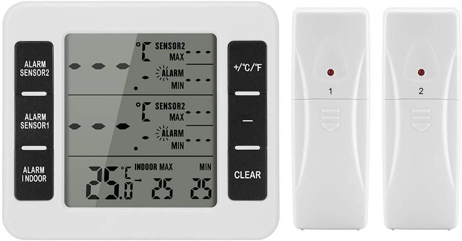 Winbang Termómetro Digital, Estación Meteorológica Termómetro Digital Inalámbrico con 2 Sensores Despertador Sudible Digital Registro de Valor Mínimo/Máximo