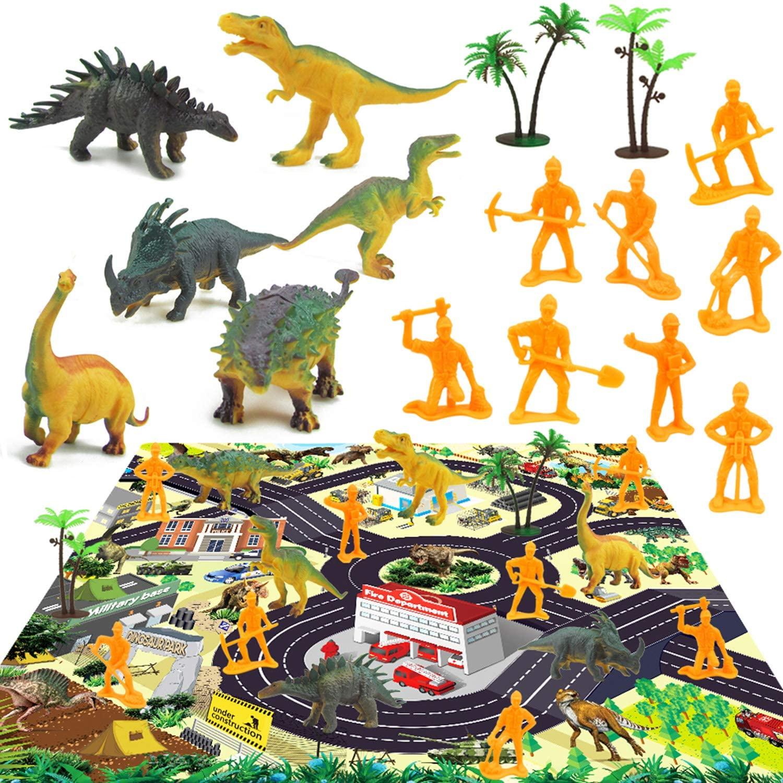 Winthai Alfombrilla de Dinosaurio, 17 Piezas Alfombrilla de Juguete de Dinosaurio para NiñOs, Alfombrilla de Juego Big City Village y Road, Alfombra de SimulacióN de Juegos