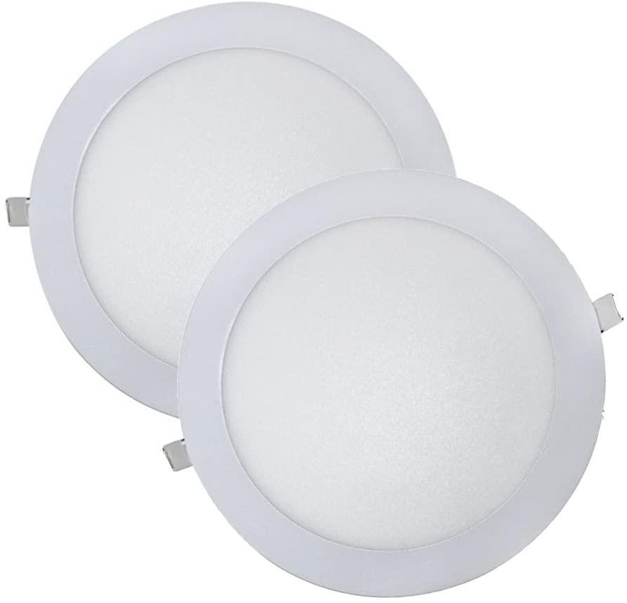Wonderlamp W-E000045 - Juego 2 Downlight LED Extraplano Redondo, Iluminacion 18W (1480 lm), 6000K (Luz Fr?a), Blanco, Diametro de 22.5 cm, Grosor 1 cm [Clase de eficiencia energética A+]
