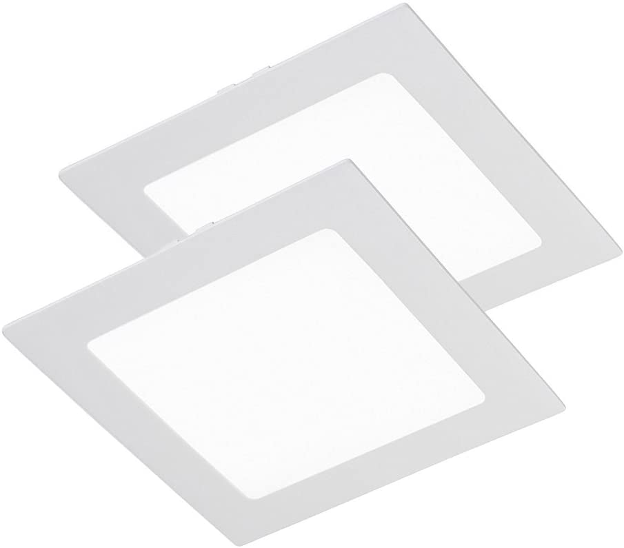 Wonderlamp W-E000048 - Pack 2 x Downlight LED extraplano cuadrado blanco, iluminacion led 18W (1450 lm), 6000K (luz fría). Plafón de techo., aluminio [Clase de eficiencia energética A+]
