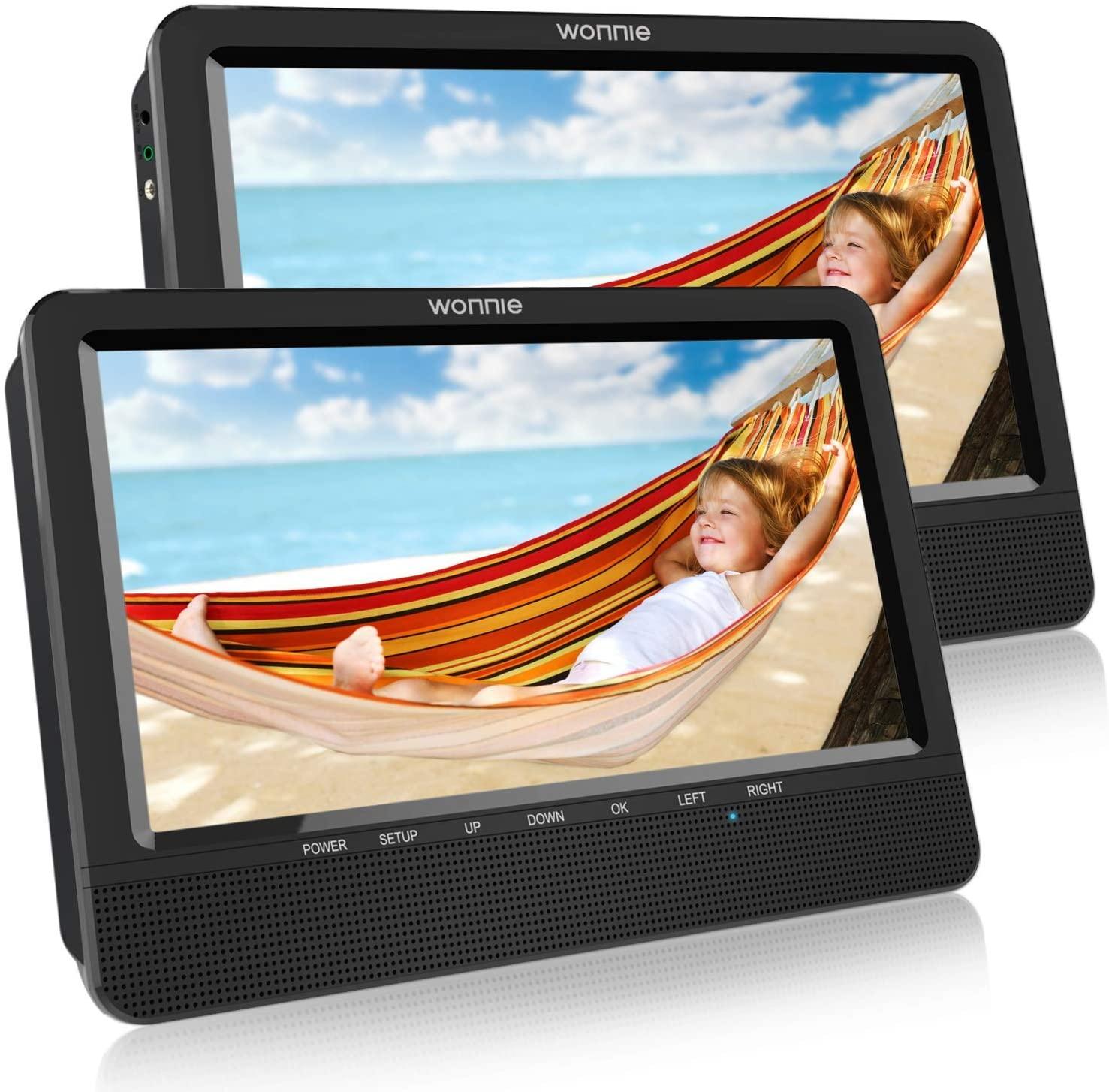 """WONNIE 10.1"""" Reproductor de DVD Portátil con 2 Pantallas para Reposacabeza de Coche para Niños en Viaje Compatible con Tarjeta SD y USB con Mando a Distancia"""