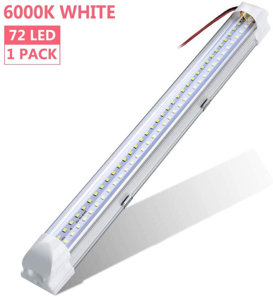 WZTO Barra de Luz 72 LED Interior del Coche led tubo DC 12-80V lámpara de Coches Luz de LED Iluminación Interior 500lm Tubo 1PCS [Clase de eficiencia energética A]