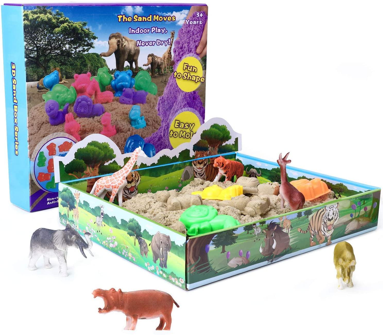 XDDIAS Arena Mágica, 500g Arena Kinética Play Sand - 3D Magic Bandeja Sand con 12 Juguete Animal & 10 Moldes para Niños