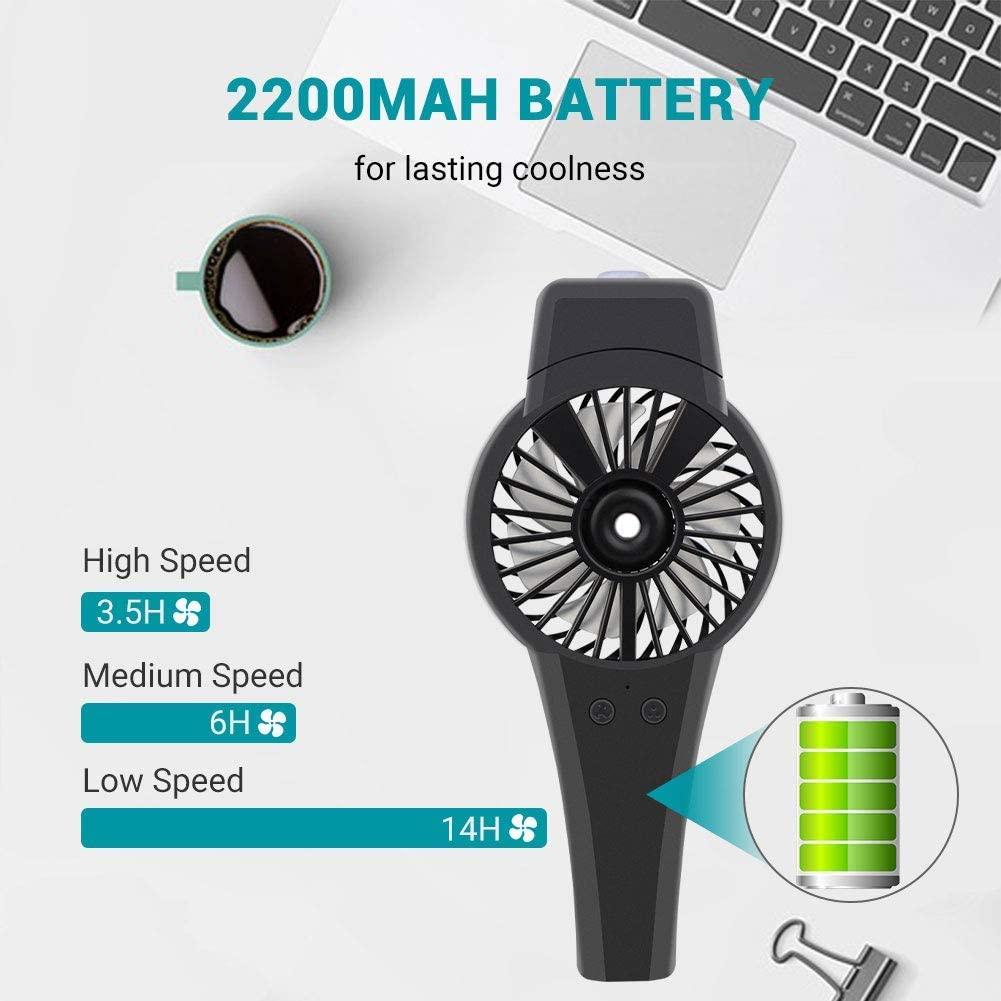 Xigeapg Ventilador Ventilador USB, Ventilador de Mano de NebulizacióN Personal Ventilador Manual Funciona con BateríA, Velocidad del Viento de 3 Niveles, Batería Mejorada de 2200 MAh