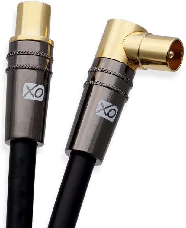 XO- Cable coaxial a?reo Negro 8m - macho a macho blindado TV/AV con 90 grados de ?ngulo recto, para televisores UHF/RF, videograbadoras, reproductores de DVD, DVR, decodificadores de cable y sat?lite