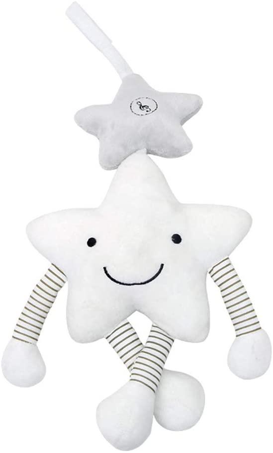 YeahiBaby Sonajero Colgante Cochecito de Bebé de Felpa Cuna Juguetes Interactivo Músical para Bebe Infantil (Estrella Blanca)