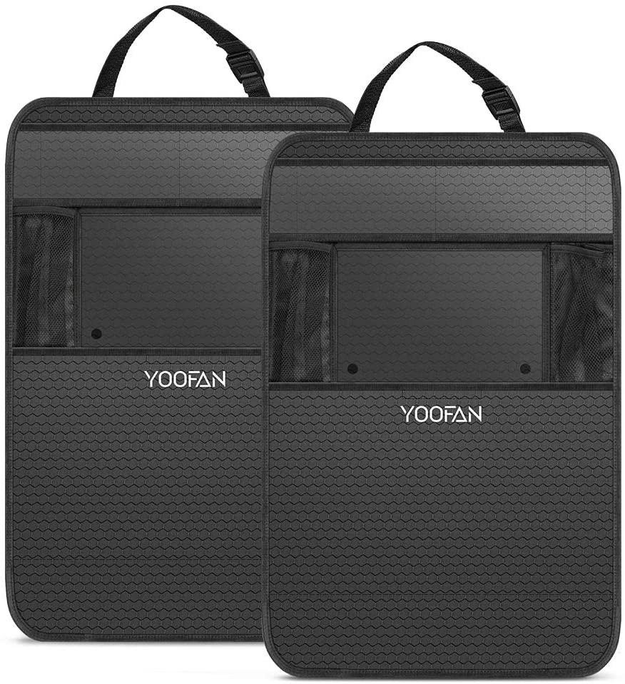 YOOFAN Organizador Coche(2 Pack) Universal Organizador Asiento Coche,Impermeable Organizador Coche Niños,Multi-Bolsillos Organizador para Coche,Organizador Coche Asiento con Soporte de iPad