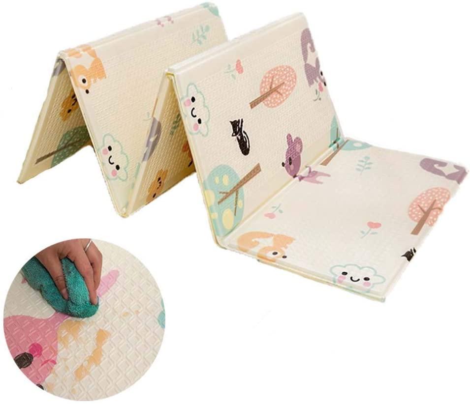 Yulie Alfombrilla de Juego para Bebé, Plegable XPE Espuma Alfombrilla, Impermeable Antideslizante Reversible Grande Baby Play Mat, 195 x 75 cm
