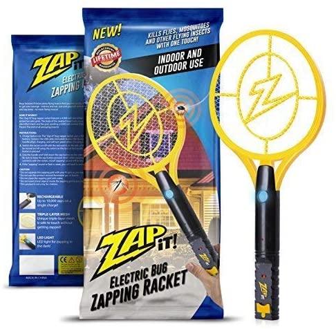 ZAP IT! - Raqueta Matamosquitos con Carga USB 4000V y Luz LED, Amarillo