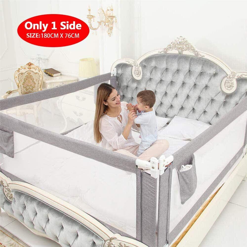 ZEHNHASE Barandilla de La Cama Guardia de Seguridad para Niños, Portátil Barrera de cama para bebé Protección contra caídas, Barandilla cama(180cm,Gris,1pcs)