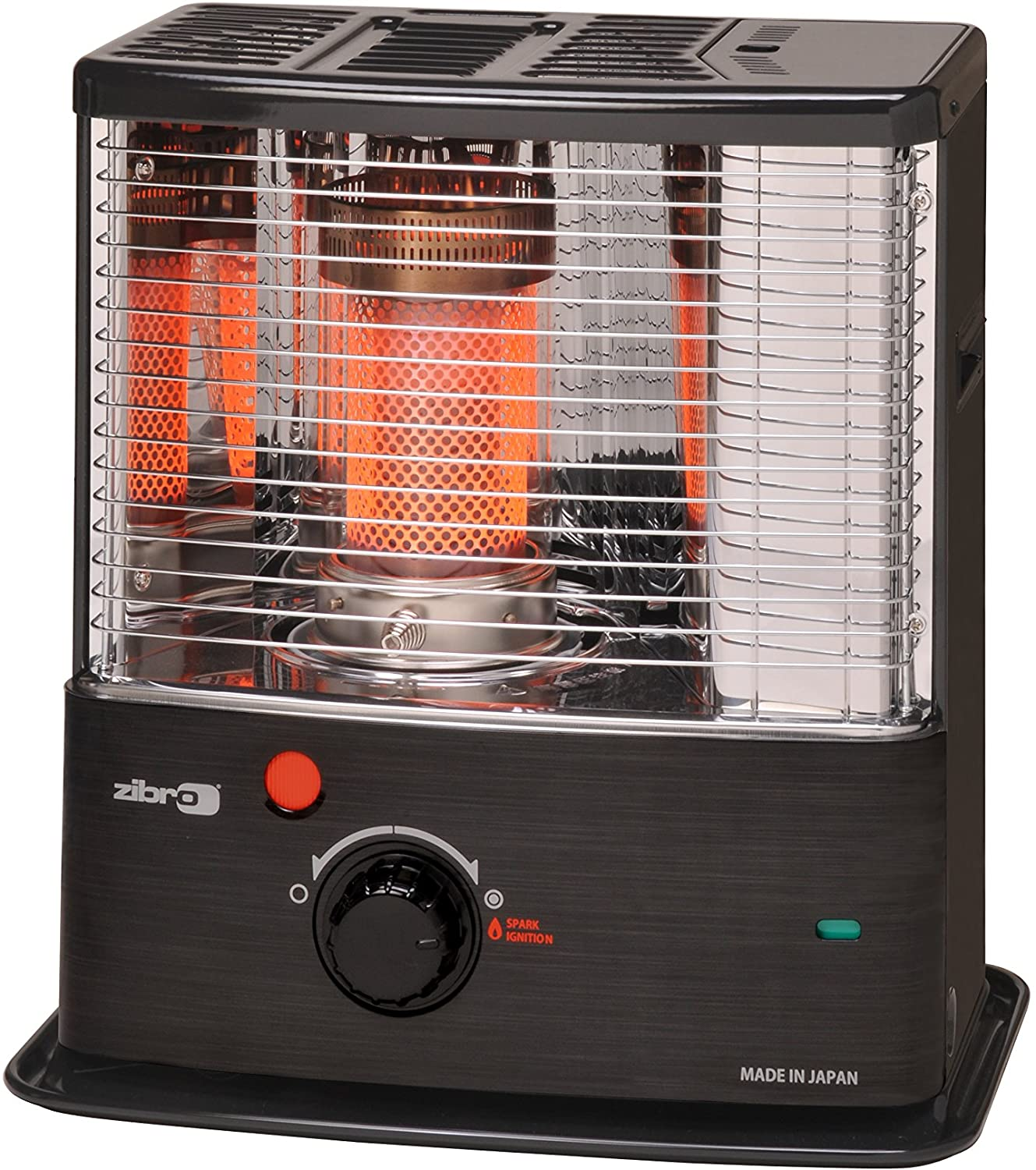 Zibro Made by Toyotomi RS-30 Estufa de Parafina de Mecha, 3000 W, Negro Inox, 480x340x310 mm