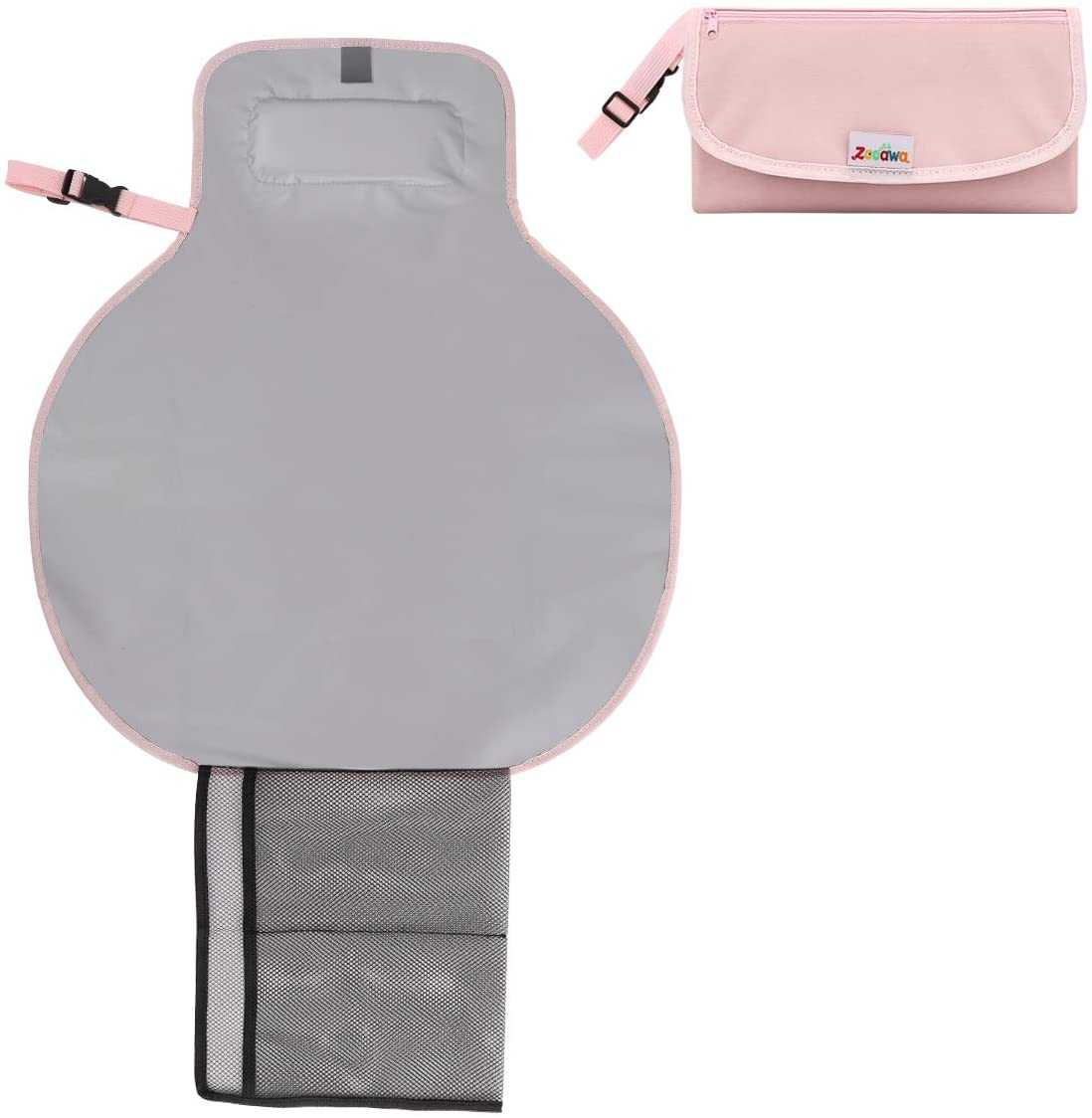 Zooawa Almohadilla de cambio de pañales portátil Alfombrilla de viaje plegable impermeable a prueba de agua para bebés,Rosado