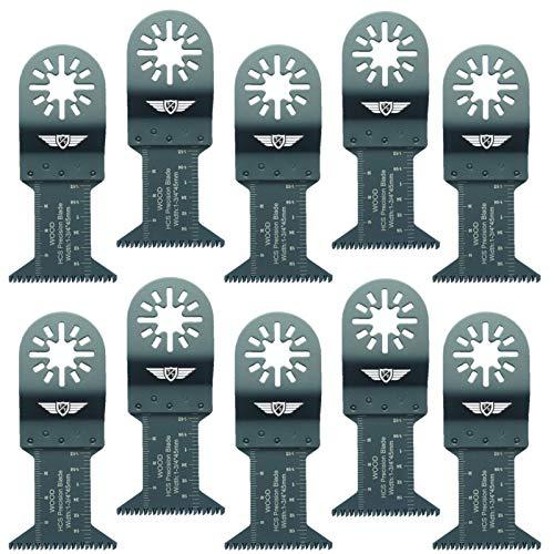 10 x 44mm TopsTools UN44J_10 Cuchillas para madera para Bosch Fein (No-StarLock) Makita Milwaukee Einhell Hitachi Parkside Ryobi Worx Multi-herramienta Workzone y Accesorios de Multi-herramientas