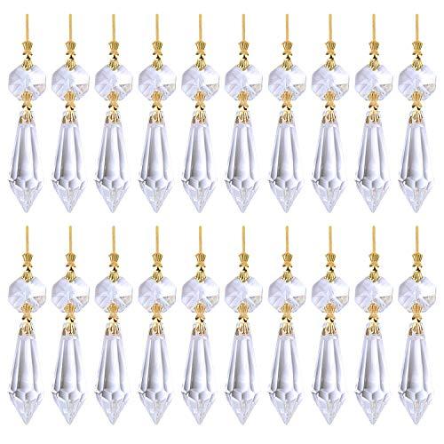 20pcs 38mm Prisma Colgantes de Cristal para Lamparas Araña Pendientes de Cristal de Lágrima Granos para la Decoración de Boda Fiesta Ceremonia Navidad Decoracion