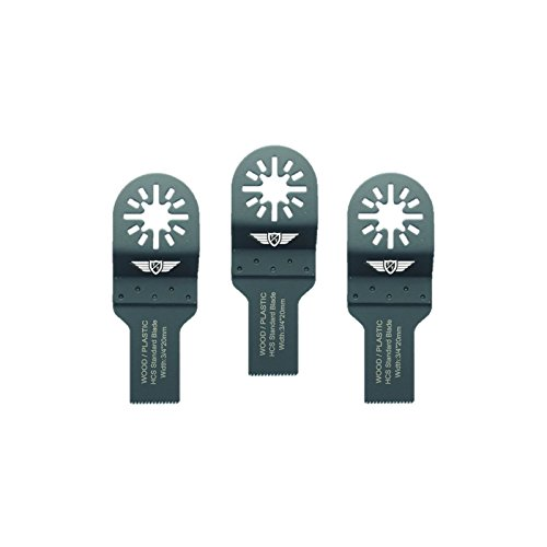 3 x 20mm TopsTools UN20F_3 cuchillas para madera para Bosch Fein (No-StarLock) Makita Milwaukee Einhell Hitachi Parkside Ryobi Worx Multi-herramienta Workzone Multi herramienta accesorios