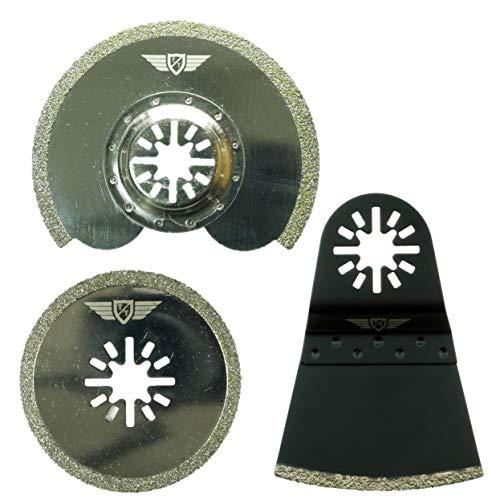 3 x TopsTools UNKA3DB diamante lechada cuchillas para Bosch Fein (No-StarLock) Makita Milwaukee Einhell Parkside Ryobi multiherramienta Worx, WorkZone Multi herramienta accesorios