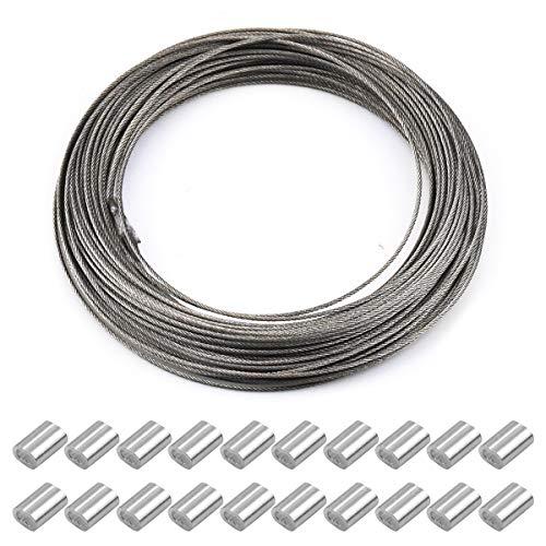 30m x 1.5mm cable de acero cuerda de acero inoxidable, cable de alambre, carrete de alambre, accesorios para caballos, cable de fotos con 20 piezas de manga de engarce de aluminio, admite hasta 150kg
