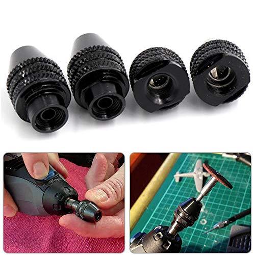 4 Piezas Portabrocas sin Llave Cambio rápido para Dremel Electric Grinder Tool 0,5-3,2 mm de Metal Negro multiherramienta para Dremel Herramienta amoladora eléctrica