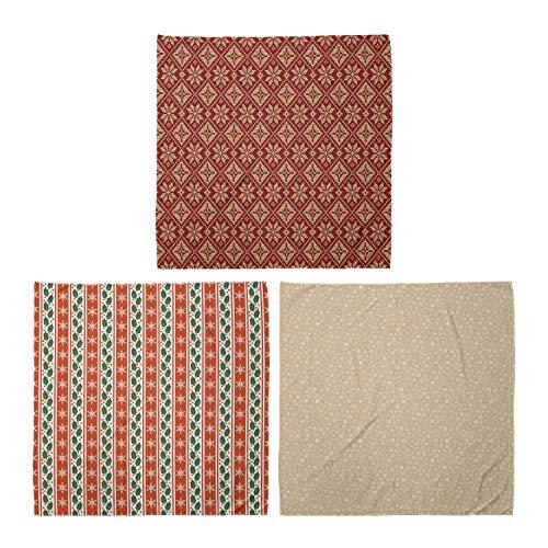 ABAKUHAUS Pack de 3 Bandanas Unisex, Tema bicolor Diseño Invierno bayas del acebo Banner de Navidad abstracta, Multicolor