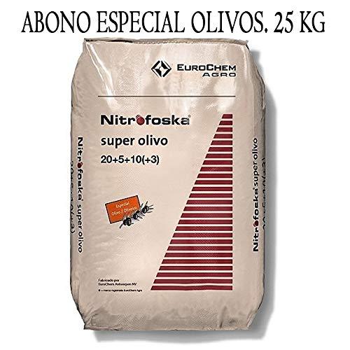 ABONO Super Olivo Nitrofoska 20-5-10 + MG + S + Fe + Zn. 25 Kilos. El abono Complejo más eficaz, equilibrado y Completo para su Olivo y césped.