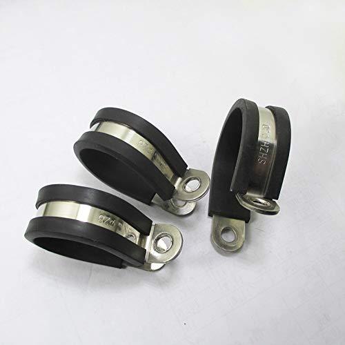 Abrazadera de la manguera 2pcs / lot 304 de acero inoxidable forrado de goma P clips de montaje de las mangueras de cable abrazadera de pipa MIKALOR Hose ClampAbrazadera de tubo de manguera