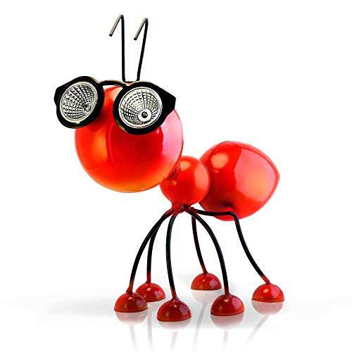 Adorno Solar para Jardin – Figura de Hormiga Roja de Metal con Luces LED – Idea de Regalo para su Jardín, Prado, Terraza o Patio