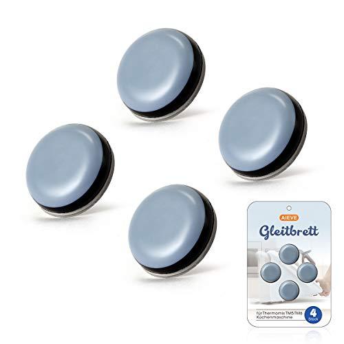 AIEVE - Base deslizante invisible, 4 piezas de tabla deslizante de teflón, tabla rodante autoadhesiva para máquina de cocina Thermomix TM5 TM6 (diámetro de 20 mm)