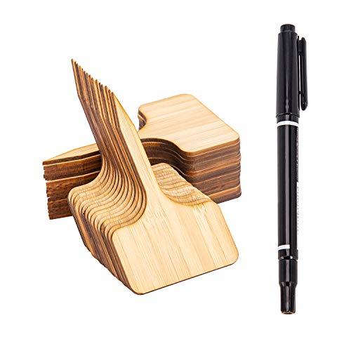AIEX 30 Piezas Etiquetas de Plantas de Bambú - Etiqueta de Planta Marcadores de Madera Tipo T de Jardín Accesorios Marcadores de Planta para Invernaderos, Semillas, Vegetales, Hierbas - 10 x 6 cm
