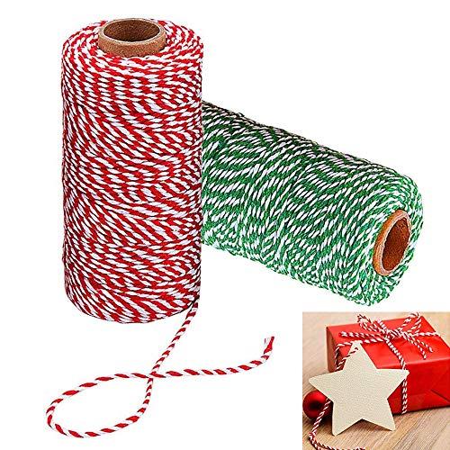 AILANDA 200M Cordel Verde Rojo y Blanco, Hilo de Algodón Bicolor Cordel de Algodon para Bricolaje Manualidades y Decoración Envolver de Regalos