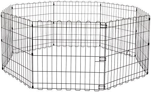AmazonBasics - Parque de juegos y ejercicios para mascotas, paneles de valla metálica, plegable, 152,4 x 152,4 x 60,9 cm