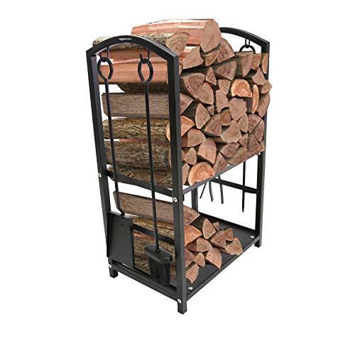 AmazonBasics - Soporte de leña para interiores y exteriores con accesorios para chimenea
