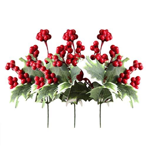 Amosfun - Juego de 3 púas de bayas de acebo artificiales, para Navidad, Navidad, fiestas, manualidades, decoración de árbol de Navidad, manualidades